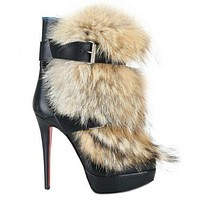 Christian Louboutin Women Fashion Casual Heels Shoes Boots-46