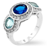 Classic Blue Cubic Zirconia Ring, size : 07