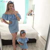 Family Matching Outfits Mommy and Me Mother Daughter Dresses Fashion Family Set  One Off Shoulder Mom and Daughter Dress Clothes
