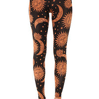 See You Monday Leggings Sun and Moon in Black