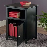 Vertigos Coppice Smart Stylized Black End / Night Table by Winsome Woods