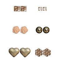 6 Sparkling Heart Earring Set | Shop Jewelry at Wet Seal