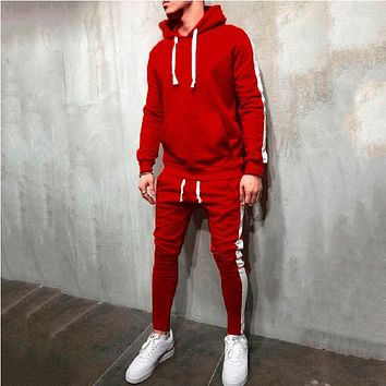 Men's hooded striped sweater suit