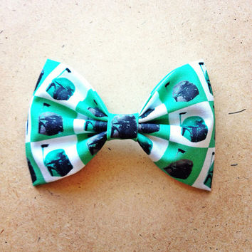 Boba Fett Star Wars print handmade fabric bow tie or hair bow