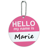 Marie Hello My Name Is Round ID Card Luggage Tag