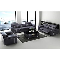 1+2+3 Seater Leather Sofa Set With Recliner