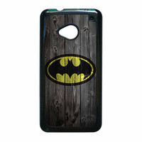 Batman Logo On Wood HTC One M7 Case