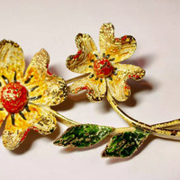 Large Statement Vintage Mid-Century textured enamel Signed ART Yellow & Orange Flower Brooch Pin