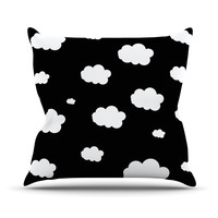 """Suzanne Carter """"Clouds"""" Black White Outdoor Throw Pillow"""