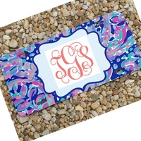 Multi La Playa  Monogram License Plate or Frame - Lily Pulitzer Inspired