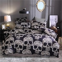 Black Duvet Cover Queen Size Luxury Sugar Skull Bedding Set