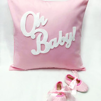 Pink Baby Girl Gift Set. Oh Baby Pink Decorative Pillow Cover Pink Lace Booties Shoes. Baby Shower Gift. New Mom Gift. Pink Nursery Decor