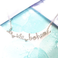 la vie boheme necklace - bohemian life jewelry - french phrase bracelet - boho hippie bohemian artist gift - rent broadway fan jewelry