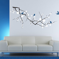 Wall Decals Cherry Blossom with Birds 3 by singlestonestudios