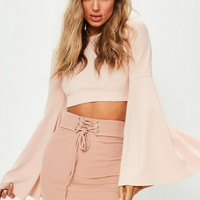 Missguided - Nude Ribbed Lace Up Waist Mini Skirt