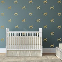33 Miniature Metallic Gold or Silver Rocking Horse Wall Decals
