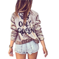 Gagaopt Female Bomber Jacket Women Basic Coats Printed Only Queen Golden Bomber Chaquetas Mujer Windbreaker Women Casaco HC0049