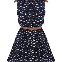 Cat Print Sleeveless Dress with Belt