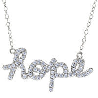 Hope Logo With Cz Necklace In Rhodium Plated Sterling Silver - 18 Inches