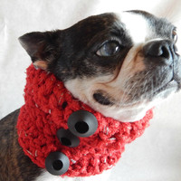 Red dog Cowl scarf  hand crocheted neck warmer with black vintage buttons  Boston Terrier