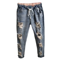 2016 New Summer Style Jeans Women Boyfriend Ripped Wahed Harem Denim Pants Femme Plus Size Holes Women Jeans TB577