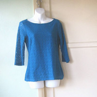 Lacy Dark Turquoise Tunic; Small-Medium - Richly Saturated Dark Teal Tunic Top - Cotton Blend Short Tunic Blouse; Scoop Neck