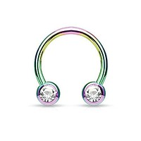 Piercing Ring Horseshoe CZ Circular Barbell Rainbow Stainless Steel 14G 12mm Piercing Jewelry