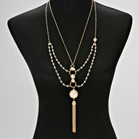 Chain Tassel Drop Pearl Necklace