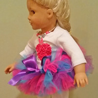 Doll tutu - Fits American Girl Dolls as well as others - Shocking Pink, Purple and Turquoise Doll Tutu, Doll Skirt