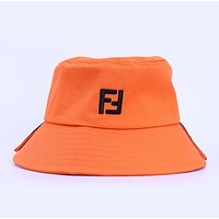FENDI Hot Sale Women Men Embroidery Sports Sun Hat Cap Hat Orange