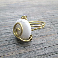 White Stone Ring - Howlite Ring - Wire Wrapped Ring - White Turquoise Ring - Bohemian Stone Ring - Gypsy Ring - Boho Jewelry