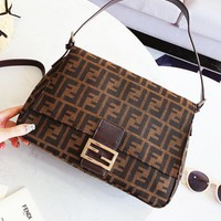 FENDI Trending Popular Women Retro Leather Handbag Crossbody Satchel Shoulder Bag