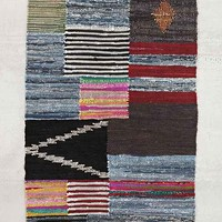 4040 Locust Patched Leather Rag Rug- Black Multi 4 X 6
