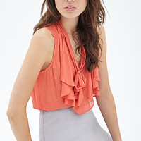 LOVE 21 Bow-Front Woven Top Orange