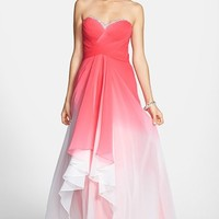 La Femme Embellished Ombre Tiered Chiffon Gown