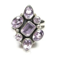 Amethyst Cluster Sterling Ring Size 8