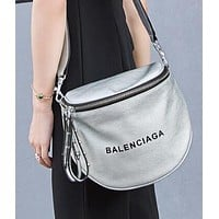 """BALENCIAGA"" Popular Women Retro Leather Rivets Shoulder Bag Crossbody Satchel Silvery"
