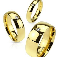 4mm Wedding Band Women's Ring Gold IP Stainless Steel with CZ