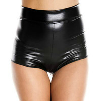 Black Ultra Wet Look High Waisted Booty Shorts
