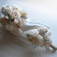 Wrist Corsage and/or Boutonniere, Sola Flowers, Burlap, Lace, Wheat, Rustic Country Wedding, Corsage & Boutonniere. Made to Order.