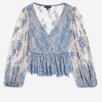 Two Tone Lace Peplum Top