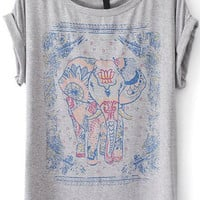 Grey Elephant Print Short Sleeve T-Shirt