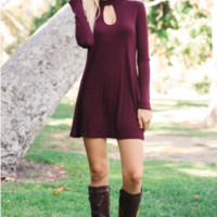 Burgundy Keyhole Short Dress