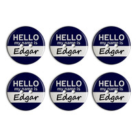 Edgar Hello My Name Is Plastic Resin Button Set of 6