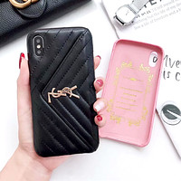 YSL tide brand female card iPhone7/8plus mobile phone case cover Black