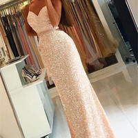 Backless Beading Spaghetti Straps Prom Dresses