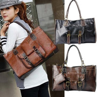 Fashion Handbag Women's Stitching Cross PU Leather Retro Tote Bag Shoulder Purse 3801 = 1745658116