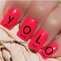 Black YOLO Nail Art Water Transfer Decal 'You Only Live Once'