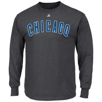 Chicago Cubs Majestic Wordmark Long Sleeve T-Shirt – Charcoal