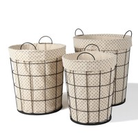 Set of 3 Laundry Baskets With Polka Dot Lining